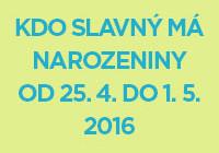 Náhled kdo slavný má narozeniny od 25. 4. do 1. 5. 2016